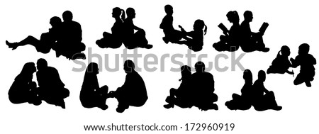 vector illustration with family silhouettes on a white background . - stock vector