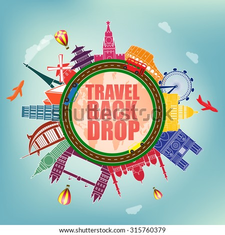 Vector illustration with famous world landmarks icons - stock vector