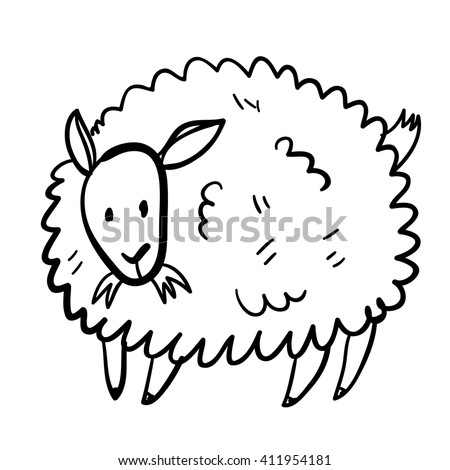 Vector illustration with farm animal. Doodle cute sheep. Cartoon sheep. Handy drawn domestic animal. - stock vector