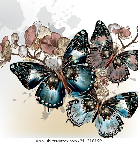 Vector illustration with fashion stylish butterflies and orchids - stock vector