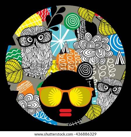 Vector illustration with female portrait. Head of beautiful afro girl in sunglasses during summer time.