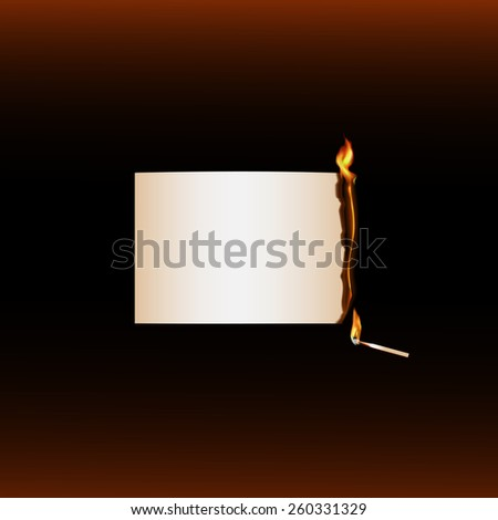 Vector illustration with fire 2 of 12. Burning paper end burning  match on dark background - stock vector