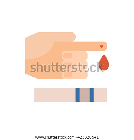 Vector illustration with flat diabetes blood test. Sugar level in blood measurement. Insulin control. Diabetes icon in flat style. Vector hand with blood drop on finger and exam glicometer strip - stock vector