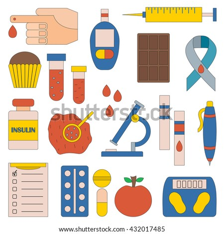 Vector illustration with flat diabetes icons: glucometer, hand with blood, medicament, sweets, diabetes emblem. Self-control sugar level measurement. Vector blood glucose test. Health care equipment - stock vector