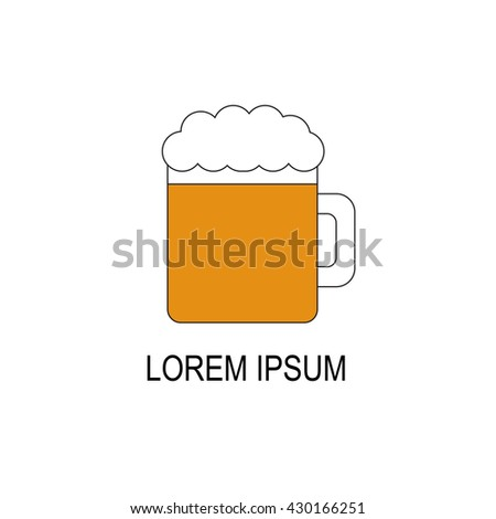 Vector illustration with flat line beer icon. Bar or pub logo design. Alcohol beverage concept. Vector glass with beer and foam.Cold refreshment beverage. Tavern, pub, bar background. Vector icon