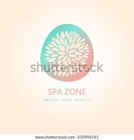 Vector illustration with floral symbol. Logo design.  For beauty salon, spa center, health clinic - stock vector