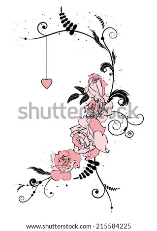 vector illustration with flowers of roses and heart - stock vector