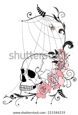 vector illustration with flowers of roses, skull and spiderweb - stock vector