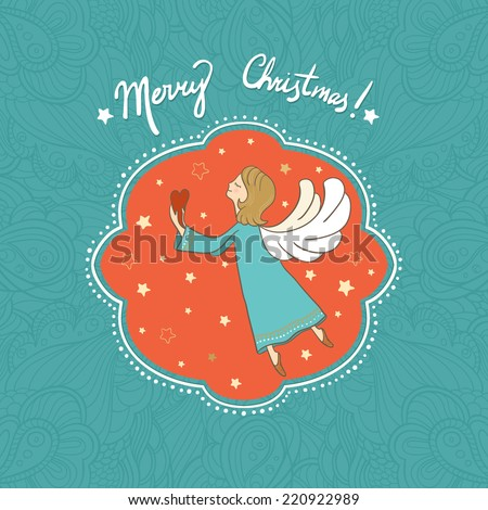Vector illustration with flying Christmas angel holding heart in her hands. It can be used for card, postcard, poster, invitation, wallpaper, textile design, fabric design, cover, banner, sticker. - stock vector