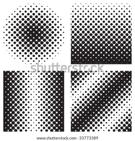 Vector illustration with four different halftone patterns.  As in real halftones, the circles are not perfectly round.  Colors can easily be added by selecting a shape and replacing the color. - stock vector