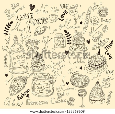 Vector illustration with french food - stock vector