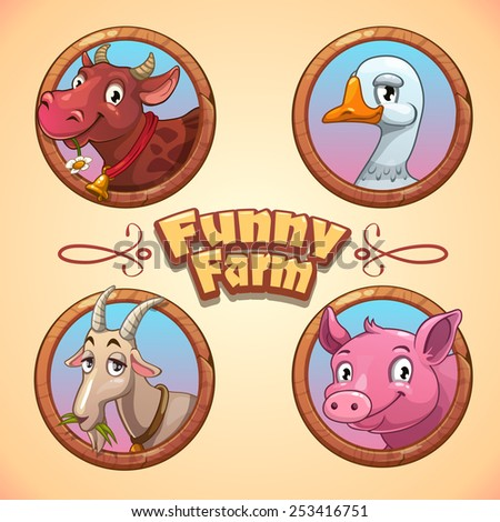 Vector illustration with funny farm animals - stock vector
