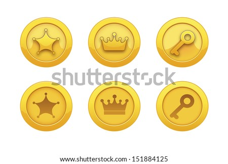 Vector Illustration with game icons. For computer games. Game icons for applications: gold medal, award, star, crown, key. Gold medals for computer games. Achievements. - stock vector