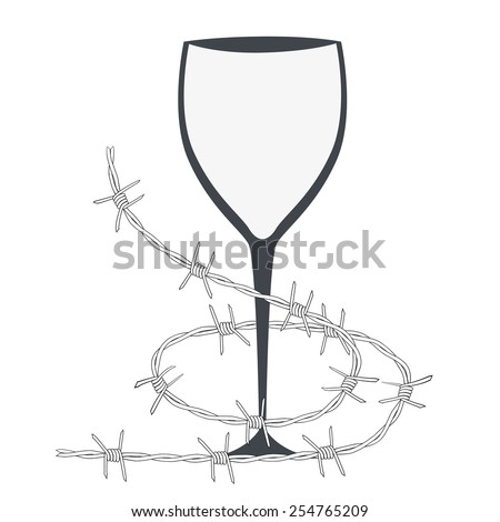 vector illustration with glass and barbed wire - stock vector