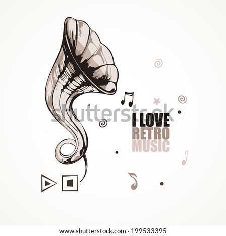 Vector illustration with gramophone and notes - stock vector