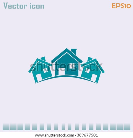 Vector illustration with group of cottages.