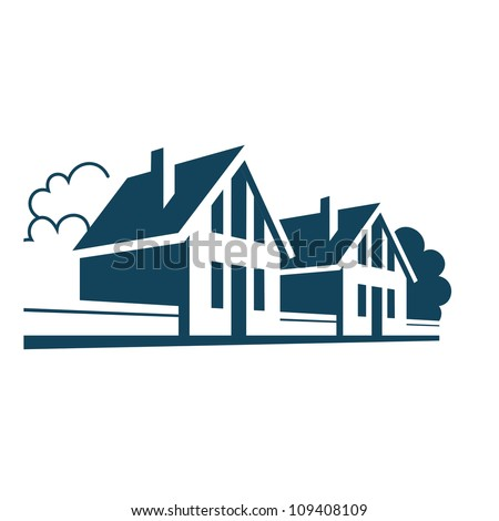 Vector illustration with group of cottages. Simple stylized icon of houses in the village. Perspective view of street with private buildings, trees and fences. Abstract sign of real estate - stock vector