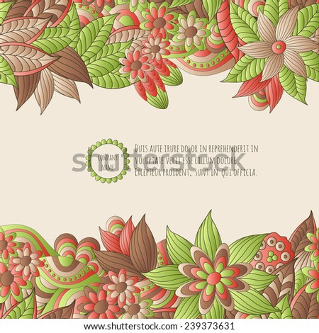 Vector illustration  with hand drawn fantasy plants and flowers, pattern can be used for Corporate identity,  stylish  card or invitation - stock vector