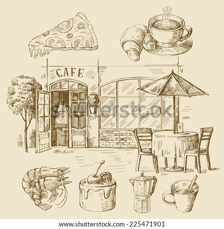 Vector illustration with hand drawn of cafe - stock vector