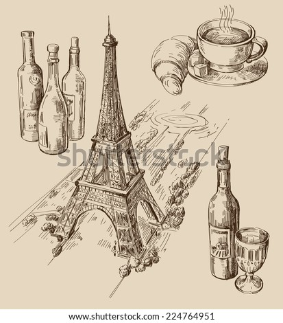 Vector illustration with hand drawn of Paris - stock vector