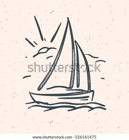 Vector illustration with hand drawn sail boat. Vector baclground - stock vector