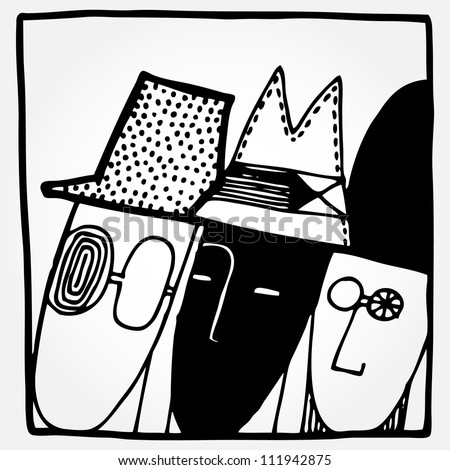 Vector illustration with heads of people and hats. Black and white. - stock vector