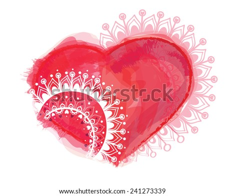 Vector illustration with heart and ornaments, artistic watercolor style - stock vector