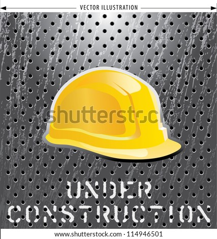 vector illustration with helmet on perforated metal plate - stock vector
