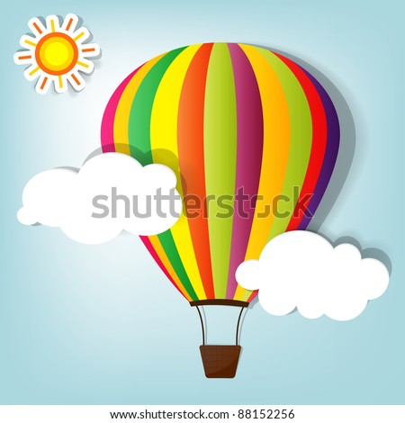 vector illustration with hot air balloon in the sky - stock vector