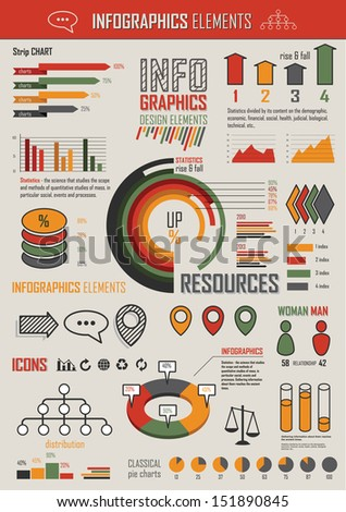 Vector Illustration with Info graphics retro elements in red, green & yellow colors. Statistics, charts and graphs. Info graphic simple flat elements and symbols for your design. - stock vector