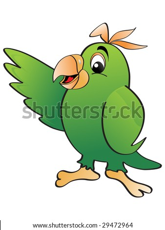 vector illustration with isolated green parrot - stock vector