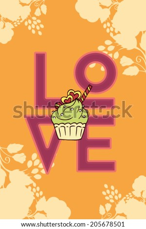 Vector illustration with love and cake