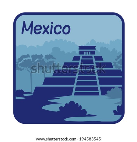 Vector illustration with Mayan pyramids in Mexico - stock vector