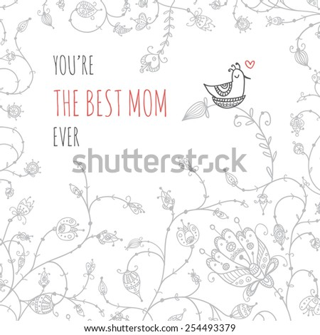 Vector illustration with mother bird in nest and floral elements composition. Can be used as a greeting card, placard, banner for mother, mom with Birthday, Women's day, Mother's day or other holiday. - stock vector