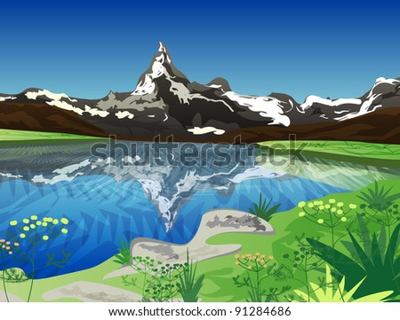 Vector illustration with mountains - stock vector
