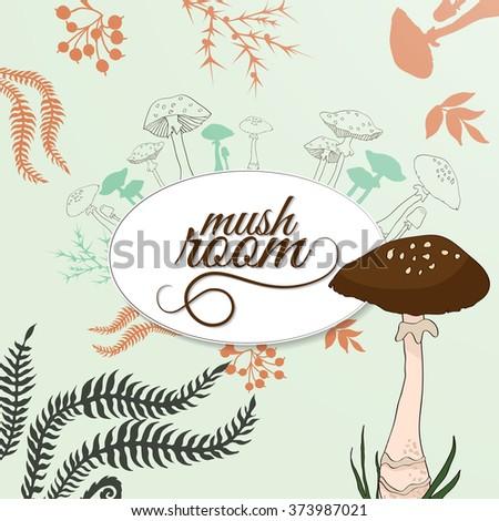 Vector illustration with mushroom - stock vector
