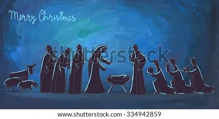 Vector illustration with nativity scene. Baby jesus born in Bethlehem. - stock vector