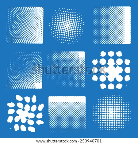 Vector illustration with nine different halftone patterns outbox  - stock vector