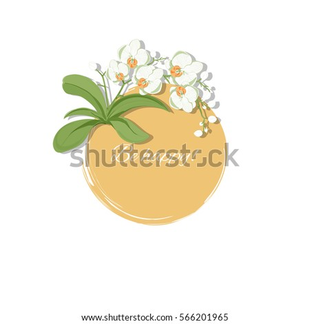 vector illustration with orchids; round, colorful background; greetings card with a short text, also generic invitation template (wedding, birthday, anniversary, other festive event), sticker or icon
