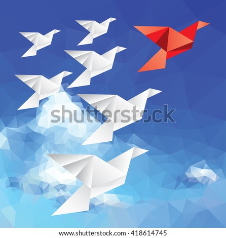 vector illustration with origami paper birds in clouds, red leader bird, low poly - stock vector