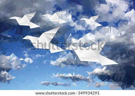 vector illustration with origami paper birds in paper clouds, low poly - stock vector