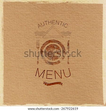 vector illustration with ornate restaurant menu label on cardboard texture. graceful line art-deco design element - stock vector