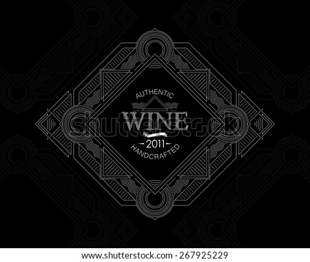 vector illustration with ornate wine label on cardboard texture. graceful line art-deco design element. package template - stock vector