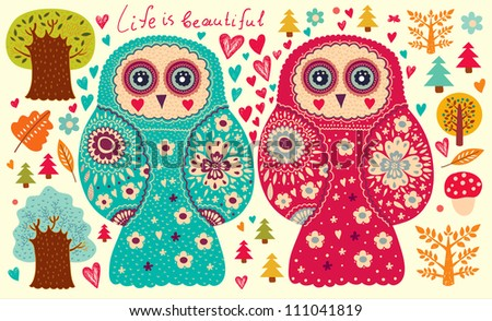 Vector illustration with owls - stock vector