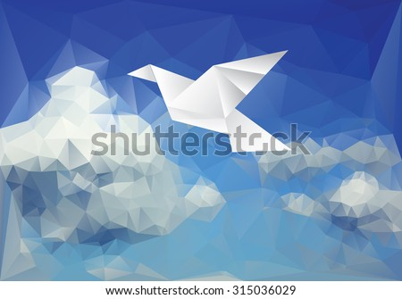 vector illustration with paper bird on paper sky, low poly - stock vector