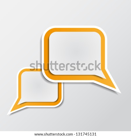 Vector illustration  with  paper orange speech bubbles - stock vector