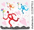 Vector illustration with people who run with colorful whirligig - stock photo