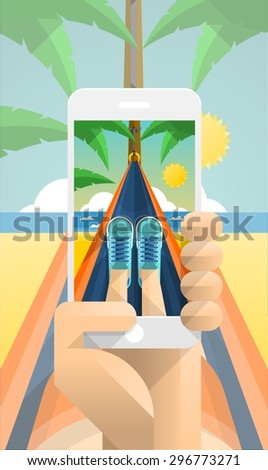 vector illustration with person taking a photograph in a hammock - stock vector