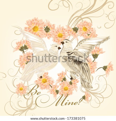 Vector illustration with pigeons and flowers  - stock vector