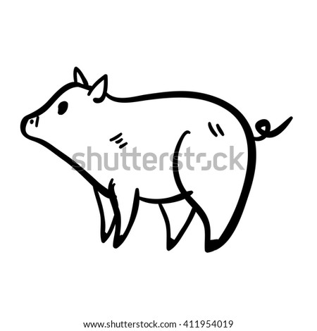 Vector illustration with piggy. Cute vector handy drawn doodle little piggy. Cartoon cute pig. - stock vector